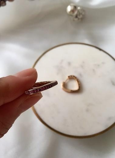 My Joyas Design Özel Seri Pembe Zirkon Taşlı Kalp Küpe Altın